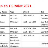 Trainingszeiten ab 15.März 2021
