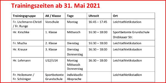 Trainingszeiten ab 31.Mai 2021